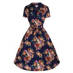 Beatrice Navy Floral Tea Dress  b014bfe74cf