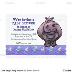 Cute Hippo Baby Shower 5x7 Paper Invitation Card by Animal Parade.