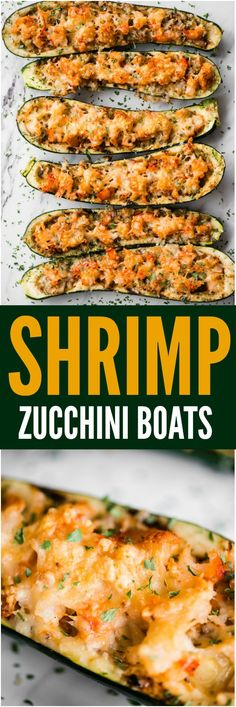 Shrimp Zucchini Boats with succulent pieces of shrimp and artichokes topped with. Shrimp Zucchini Boats with succulent pieces of shrimp and artichokes topped with parmesan cheese are a great low carb and tasty way to enjoy zucchini! Fish Recipes, Vegetable Recipes, Seafood Recipes, Keto Recipes, Vegetarian Recipes, Cooking Recipes, Healthy Recipes, Recipies, Low Carb Shrimp Recipes