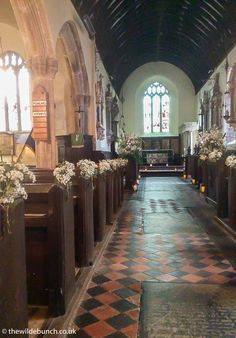 Simple bunches of Gypsophila are the most cost effective way to decorate the aisle of a church. This is a Wilde Bunch design in a village church in North Devon. Church Wedding Flowers, Aisle Flowers, North Devon, Gypsophila, Big Day, Entrance, Wedding Planning, Simple, Ideas