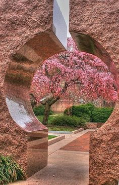 Famous Gardens of the World - Moongate Garden, Washington DC - The Moongate Garden, designed by architect Jean Paul Carlhian, was inspired by the gardens and architecture of the Temple of Heaven in Beijing, China. The Temple of Heaven was designed using a geometrical, axial layout, centered around the cardinal points of the compass. The garden is meant to take its visitors to a relaxing place usually surrounded by water where they may absorb the cool air emanating from the water.