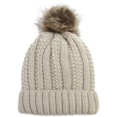 b9bfc37e58a Fleece Lined Pom Pom Beanie- Ivory ( 20) ❤ liked on Polyvore featuring  accessories