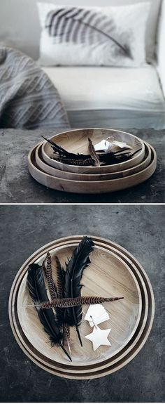 Wooden Bowls with black feather matches perfectly with the grey concrete table Interior Inspiration, Design Inspiration, Interior Ideas, Design Interior, Room Inspiration, Interior Styling, Interior Decorating, Passion Deco, Home And Deco