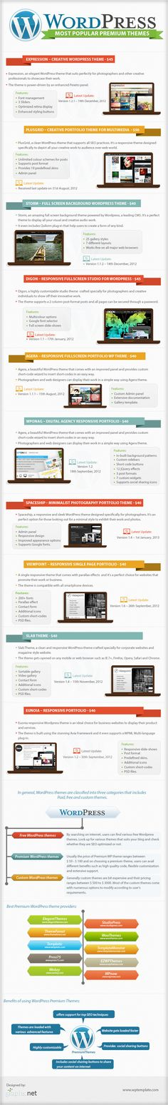 Most Popular WordPress Premium Themes (infographic) from WPTemplate.com