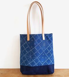 Sashiko Pattern Canvas & Leather Tote Bag by Chloé Derderian-Gilbert on Scoutmob