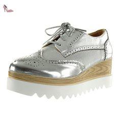 3ab585d6be3cb Angkorly - Chaussure Mode Derbies semelle basket plateforme femme brillant perforée  Talon compensé plateforme 6.5 CM