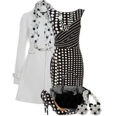 Black Spot Print Dress Can totally see you wearing this outfit... especially the vintage style coat..