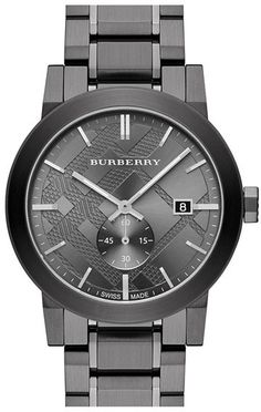 Burberry Check Stamped Bracelet Watch, Bold texture and a sub seconds dial update Burberry's classic check-stamped dial on a clean, handsome bracelet watch with a smooth, brushed-metal finish. Burberry Watch, Burberry Men, Stainless Steel Watch, Stainless Steel Bracelet, Cool Watches, Watches For Men, Black Watches, Women's Watches, Fancy Watches