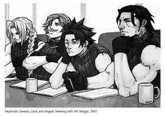 Here are a couple of pics of the Firsts, from the ongoing Shinra Photo Book collection. The timeline deviates slightly from canon to allow Zack more interaction with the others. Final Fantasy Characters, Final Fantasy Art, Fantasy Series, Ace Attorney, Zack Fair, Disney Crossovers, Cloud Strife, The Villain, Game Character