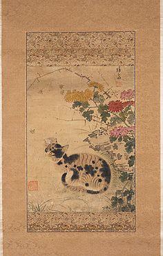 Cat under the Crysanthemum    Korea, 18th century    The Los Angeles County Museum of Art