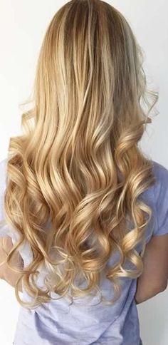 Bright Golden Blonde Balayage Beach Hair