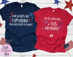 4th of July Pregnancy Announcement, July 4 Baby Reveal, July Fourth Baby Announcement, Couples Baby Announcement Tees, 4th of July Pregnancy Baby Surprise Announcement, Surprise Pregnancy, Pregnancy Announcement Shirt, Pregnancy Shirts, Mommy And Me Shirt, Mama Shirt, Fourth Of July Shirts, 4th Of July, Maternity Tees