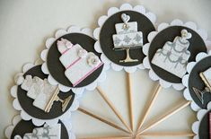 Wedding Cake Bridal Shower Cupcake Toppers by AForestFrolic Wedding Cupcake Toppers, Bridal Shower Cupcakes, Wedding Cakes With Cupcakes, Cool Wedding Cakes, Cute Cupcakes, Bridal Shower Gifts, Bridal Showers, Wedding Costs, Wedding Vendors