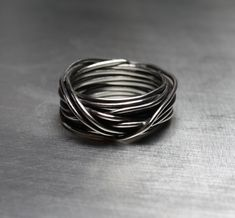 Mens Ring Mens Wedding Band Wire Wrapped Ring by JenniferWood