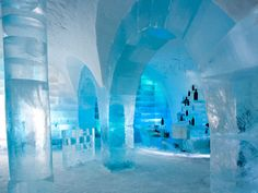 The Ice hotel in Sweeden.  They build a new one every year.