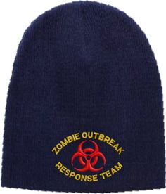 17bc967edea Zombie Outbreak Response Team Embroidered Skull Cap - Navy is made of Soft