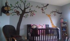 Hand painted monkey design for babies room.