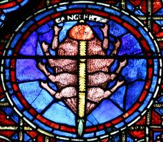 Chartres ~ Centre-Val de Loire ~ France ~ Notre Dame Cathedral ~ Cancer : Sign of the Zodiac (circa Medieval Stained Glass, Stained Glass Angel, Faux Stained Glass, Stained Glass Windows, Arte Latina, L'art Du Vitrail, Traditional Art, Zodiac Signs, Cathedral