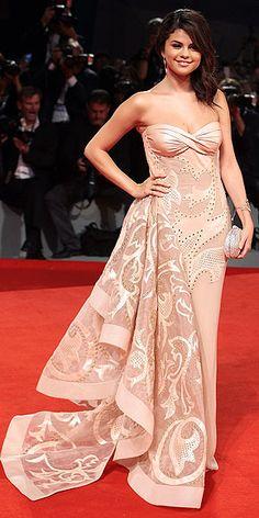 Selena Gomez in Atelier Versace worn with Sergio Rossi heels and Lorraine Schwartz jewels.