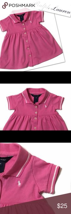 RALPH LAUREN BABY RUCHED PINK POLO DRESS RALPH LAUREN  BABY RUCHED PINK POLO DRESS  SZ 9M Ralph Lauren Dresses Casual