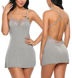 5572d2a788e26 Avidlove Sexy Lingerie For Women Lace Chemise Sleepwear Cotton Babydoll  Teddy Dress Gray XXL * Amazon most trusted e-retailer #BabydollDress