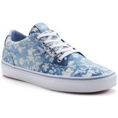 Vans Winston Women's Chambray Skate Shoes ($50) ❤ liked on Polyvore featuring shoes, sneakers, vans, dark blue, floral print shoes, skate shoes, print sneakers, floral print sneakers and round toe sneakers