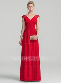 [US$ 157.49] A-Line/Princess V-neck Floor-Length Jersey Evening Dress With Ruffle Lace