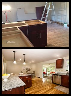 Before and After - Kitchen Real Estate Photography, Beautiful Space, Staging, Corner Desk, Floors, Kitchen Ideas, Kitchens, Wood, Inspiration