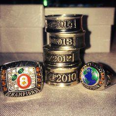 Stingray all stars Orange 2010, 2012, 2013 & 2014 world championship rings