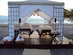 Get a romantic couples massage in a cabana with the sound of the ocean in the background Massage Therapy Rooms, Massage Room, Spa Massage, Outdoor Spa, Outdoor Living, Beachfront House, Zen, Spa Rooms, Massage