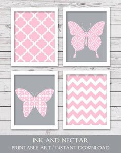 grey and pink butterfly nursery