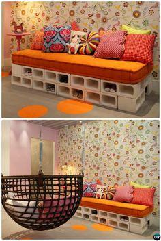 DIY Cinder Block Sofa-10 DIY Concrete Block Furniture Projects