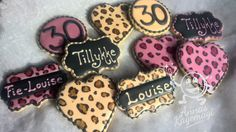 Matching leoprad cookies for two best friends, who are both turning 30.