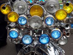 A lot of chrome at Modculture In Brighton, August Bank Holiday, 2016.