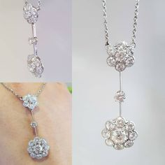 ac.silver Gorgeous 1930s floral cluster platinum drop necklace. Because diamonds are every-bodies best friend! Partners please do remember this for valentines day