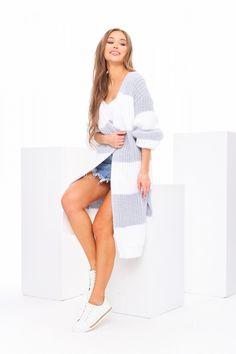 Modrý dámsky kardigán pruhovaný Cover Up, Dresses, Fashion, Knits, Dots, Vestidos, Moda, Fashion Styles, Dress