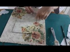 Decoupage on canvas. Decoupage Vintage, Decoupage On Canvas, Decoupage Paper, New Crafts, Diy Arts And Crafts, Creative Crafts, Decoupage Tutorial, Diy Tutorial, How To Make Canvas