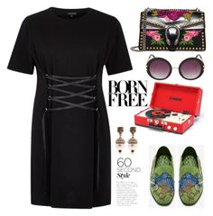 60-Second Style: The T-Shirt Dress by hamaly on Polyvore featuring polyvore, fashion, style, River Island, Gucci, Topshop, clothing, moda, ootd, tshirtdresses and 60secondstyle
