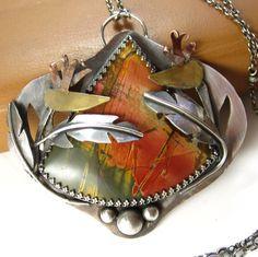 Pendant | Jennifer Blackwell.  Picasso jasper, sterling silver, brass and copper