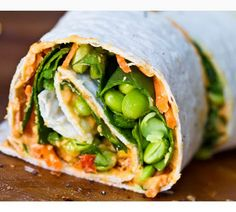 hummus, red peppers, edamame, spinach wrap
