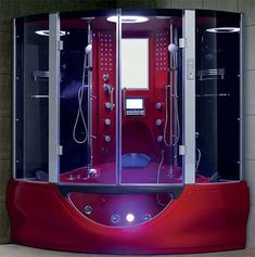 """Brand New Luxury Red Jetted Tub and Steam Shower Room - 64.1"""" x 64.1"""" x 87.8"""""""
