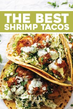 Healthy Dinner Recipes Discover Spicy Shrimp Tacos with Garlic Cilantro Lime Slaw - Pinch of Yum The BEST Shrimp Tacos with Garlic Cilantro Lime Slaw - ready in about 30 minutes and loaded with flavor and texture. SO YUM! Spicy Shrimp Tacos, Shrimp Taco Recipes, Shrimp Taco Sauce, Shrimp Taco Seasoning, Shrimp Dinner Recipes, Grilled Fish Tacos, Cilantro Recipes, Shrimp Fajitas, Meals With Shrimp