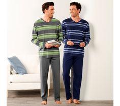 Pyžamo s nohavicami, prúžky | blancheporte.sk #blancheporte #blancheporteSK #blancheporte_sk #panskamoda T Shirt, Button Down Shirt, Men Casual, Mens Tops, Pants, Products, Fashion, Color Blue, Men Wear