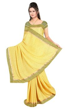 Sakshi Love Story Collection Arylide Yellow Color Georgette Saree (Offer Price: Rs 1250 , Offered Discount: 31%) ** BUY NOW ** [MRP: Rs 1800]