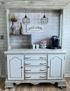Coffee Nook, Coffee Bar Home, Coffee Wine, Recycled Furniture, Refurbished Furniture, Custom Furniture, Hutch Makeover, Furniture Makeover, Coffee Bar Station