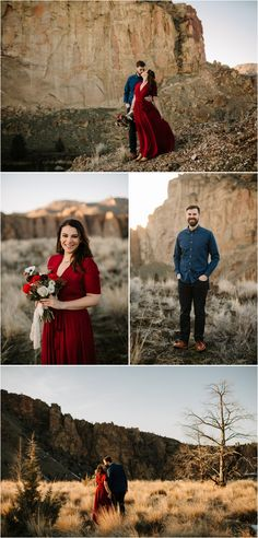 What to wear for engagement photos: a deep red maxi dress with sleeves and a dark blue denim shirt with black pants. Photos taken by Katy Weaver Photography at Smith Rock near Bend, Oregon Engagement Photo Outfits, Engagement Pictures, Engagement Shoots, Ecola State Park, Blue Denim Shirt, Maxi Dress With Sleeves, Stay Warm, Black Pants, What To Wear