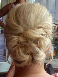 Bridesmaid hair! Love! Loose braided bun! So cute & simple & pretty