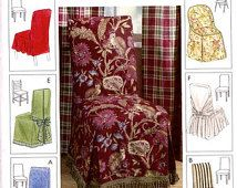 Check out our chair cover patterns selection for the very best in unique or custom, handmade pieces from our chair slipcovers shops. Dining Chair Covers, Dining Chair Slipcovers, Dining Chairs, Dining Room, Decoration, Planer, Sewing Patterns, Curtains, Home Decor
