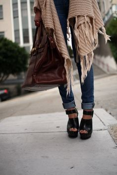 structured bag. chunky platforms. comfy draped knit.