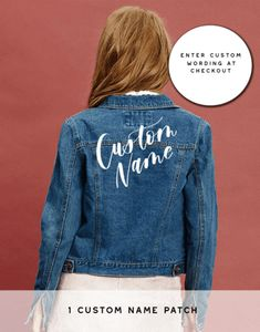 DIY Denim Jacket Kit - Custom Name Only - The Bash Box – Bash Creative Design Source by denim jackets Custom Name Patches, Custom Iron On Patches, Baby Girl Announcement, Baby Announcements, Painted Leather Jacket, Painting Leather, Green Wedding Shoes, Girls Night, Black Denim